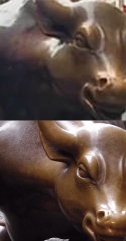 Top: The current headline image on CNN.com resized smoothly to 4x. Bottom: An image of the same statue at full resolution.